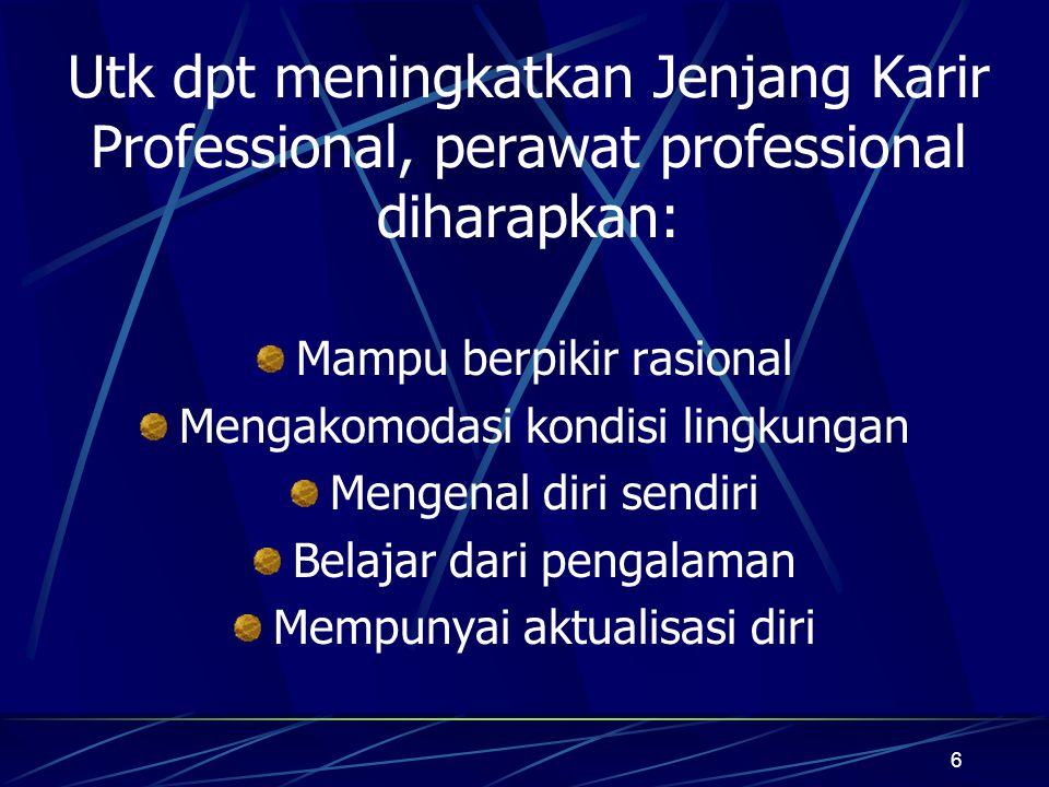 Utk dpt meningkatkan Jenjang Karir Professional, perawat professional diharapkan: