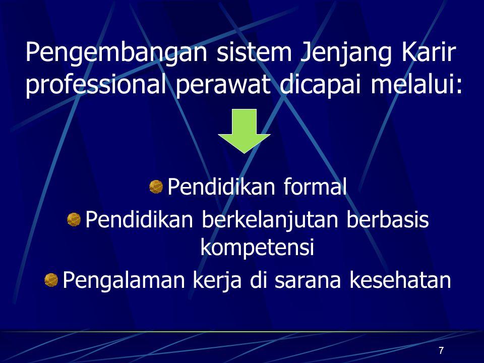 Pengembangan sistem Jenjang Karir professional perawat dicapai melalui: