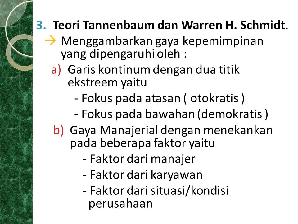 Teori Tannenbaum dan Warren H. Schmidt.