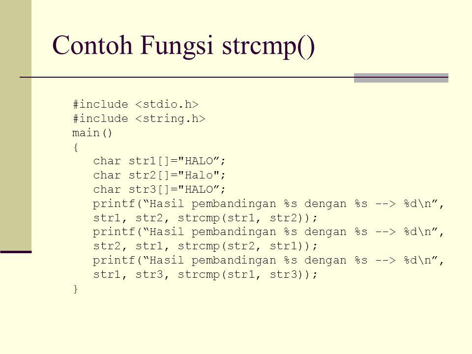 Contoh Fungsi strcmp()