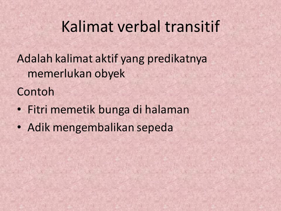 Kalimat verbal transitif