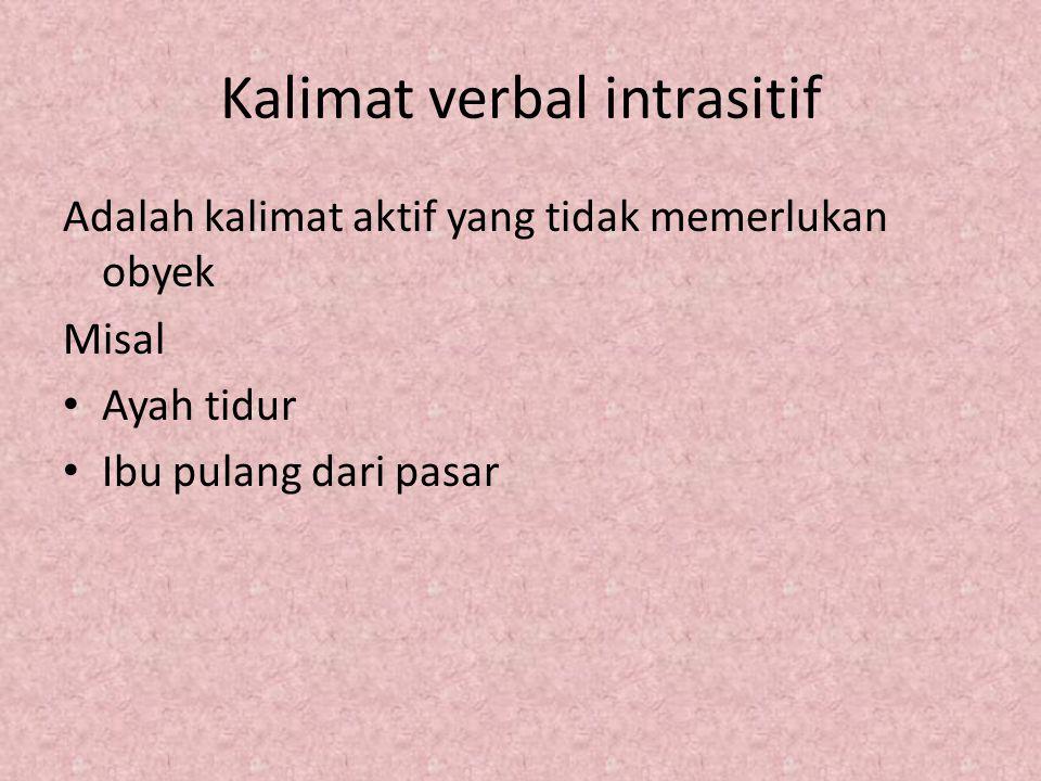 Kalimat verbal intrasitif