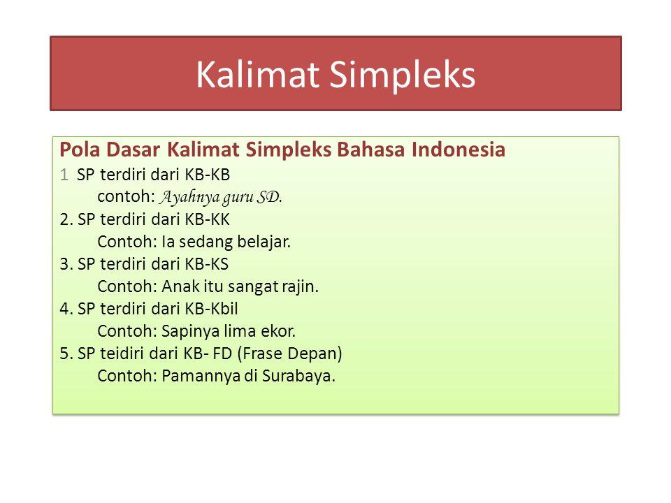 Kalimat Simpleks Pola Dasar Kalimat Simpleks Bahasa Indonesia