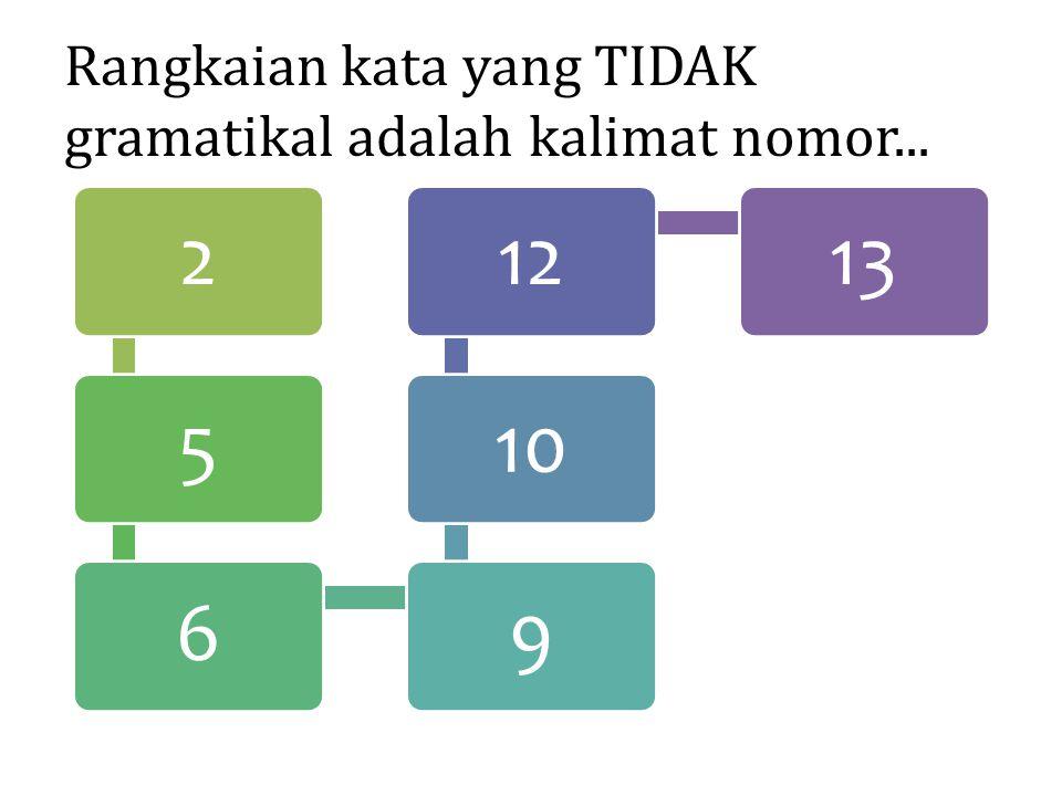 Rangkaian kata yang TIDAK gramatikal adalah kalimat nomor...