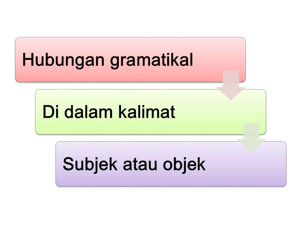 Hubungan gramatikal Di dalam kalimat Subjek atau objek