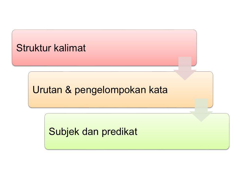 Struktur kalimat Urutan & pengelompokan kata Subjek dan predikat