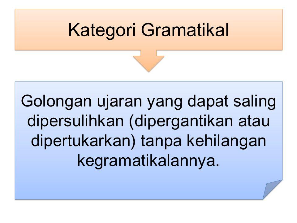 Kategori Gramatikal Golongan ujaran yang dapat saling dipersulihkan (dipergantikan atau dipertukarkan) tanpa kehilangan kegramatikalannya.