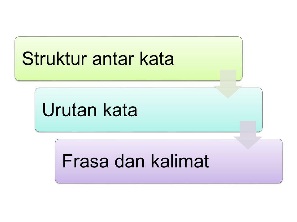 Struktur antar kata Urutan kata Frasa dan kalimat
