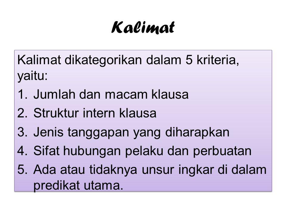 Kalimat Kalimat dikategorikan dalam 5 kriteria, yaitu: