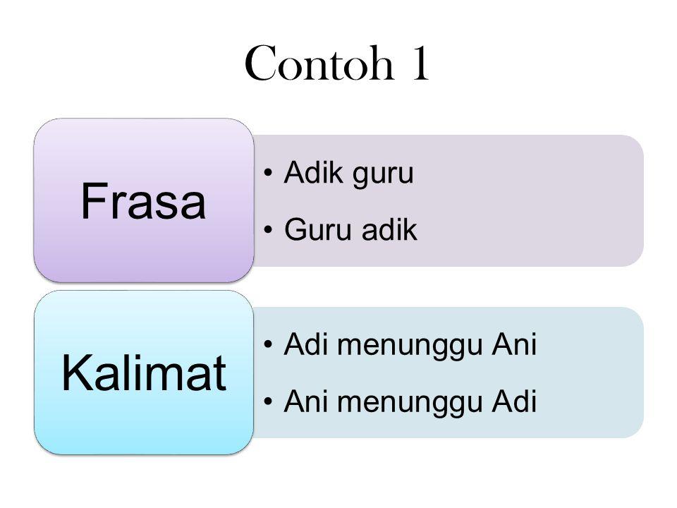 Contoh 1 Frasa Kalimat Adik guru Guru adik Adi menunggu Ani