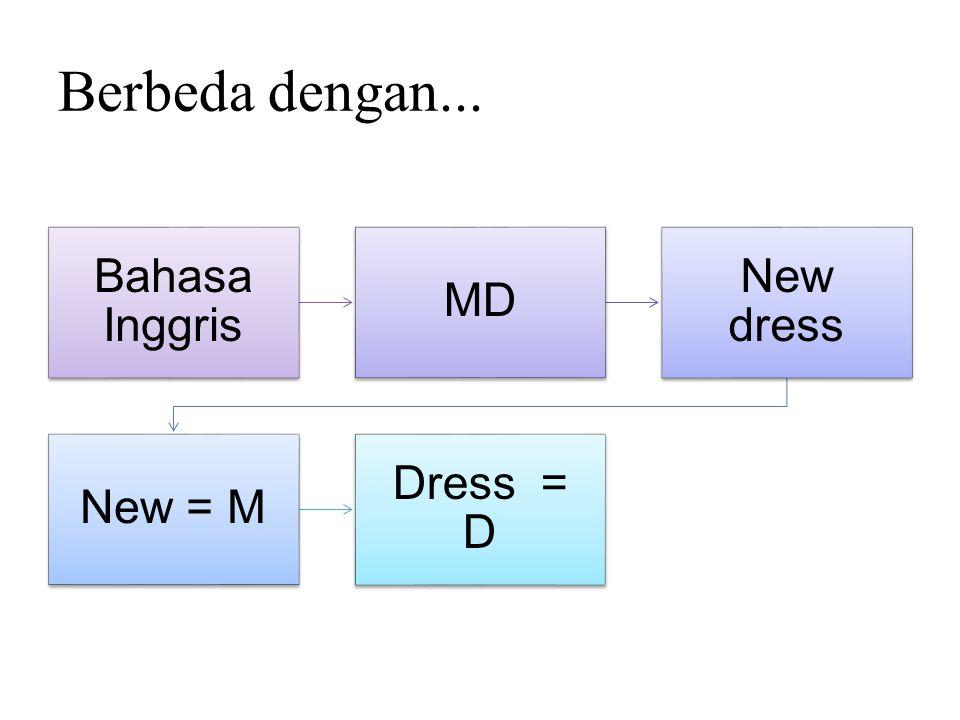 Berbeda dengan... Bahasa Inggris MD New dress New = M Dress = D
