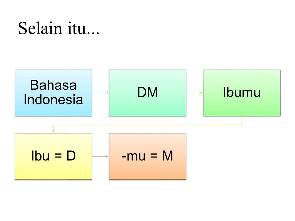 Selain itu... Bahasa Indonesia DM Ibumu Ibu = D -mu = M