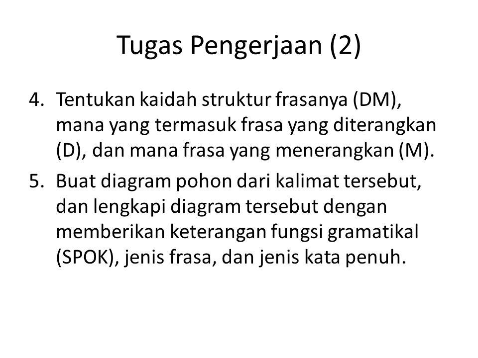 Tugas Pengerjaan (2) Tentukan kaidah struktur frasanya (DM), mana yang termasuk frasa yang diterangkan (D), dan mana frasa yang menerangkan (M).
