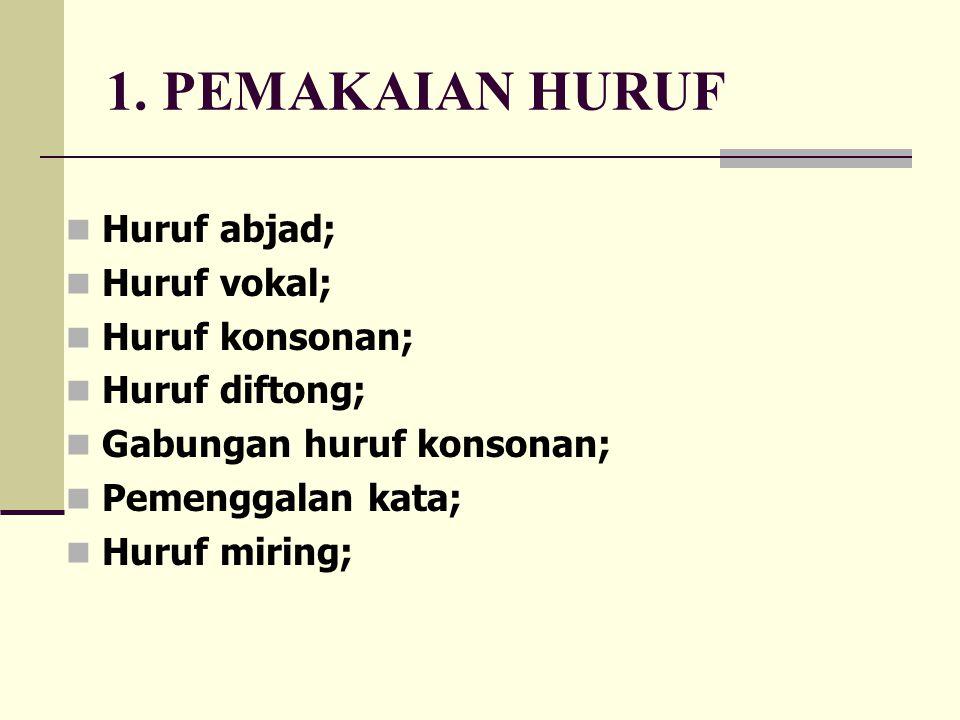 1. PEMAKAIAN HURUF Huruf abjad; Huruf vokal; Huruf konsonan;