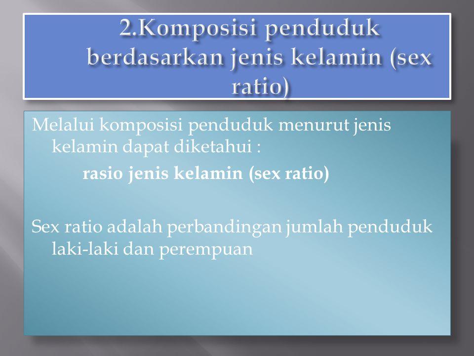 2.Komposisi penduduk berdasarkan jenis kelamin (sex ratio)
