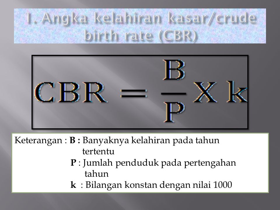 1. Angka kelahiran kasar/crude birth rate (CBR)