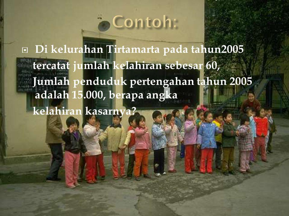 Contoh: Di kelurahan Tirtamarta pada tahun2005
