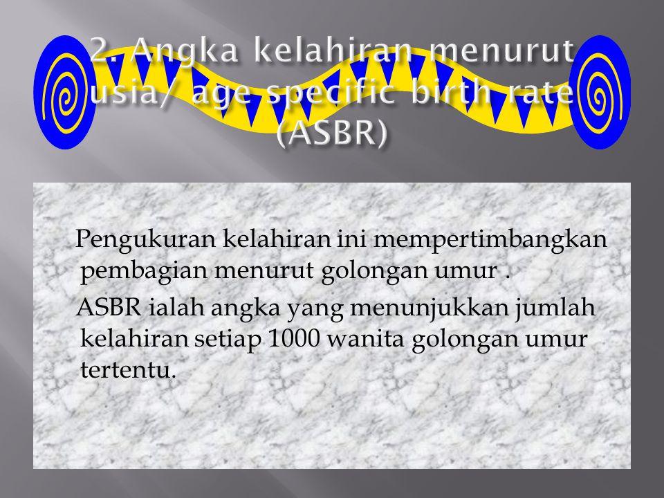 2. Angka kelahiran menurut usia/ age specific birth rate (ASBR)