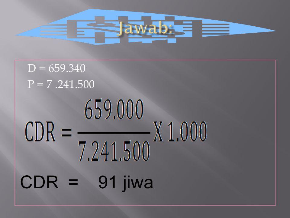 Jawab: D = 659.340 P = 7 .241.500 CDR = 91 jiwa