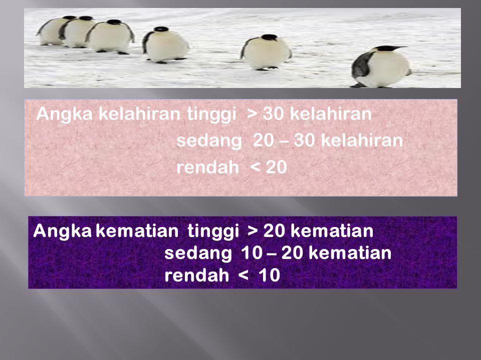 Angka kelahiran tinggi > 30 kelahiran sedang 20 – 30 kelahiran rendah < 20