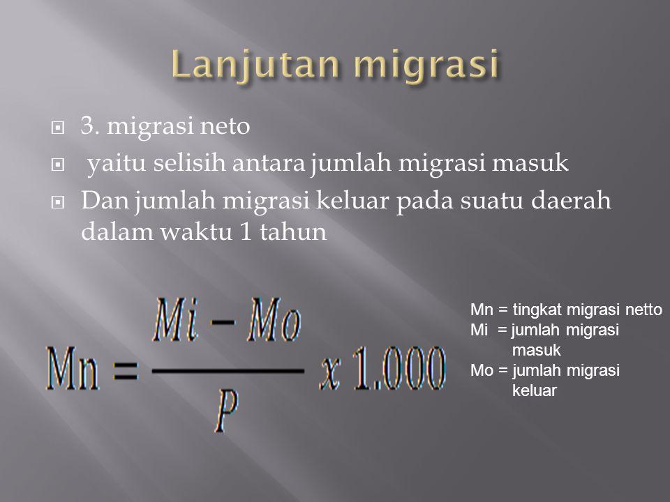Lanjutan migrasi 3. migrasi neto