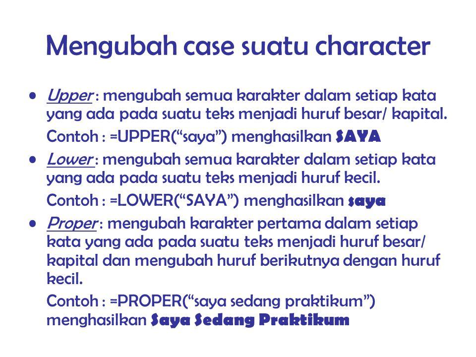 Mengubah case suatu character
