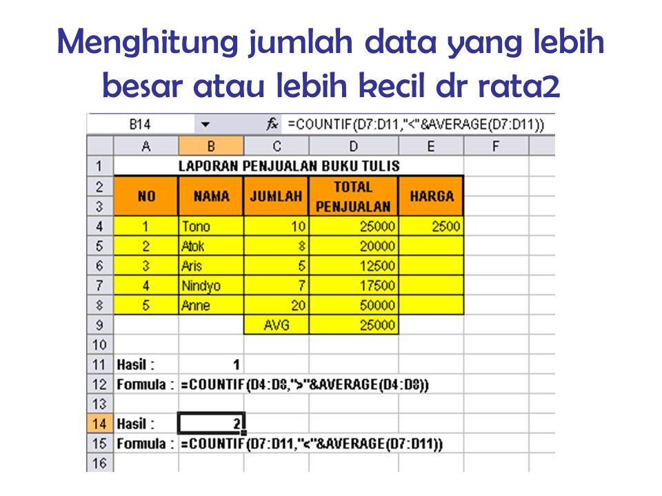 Menghitung jumlah data yang lebih besar atau lebih kecil dr rata2