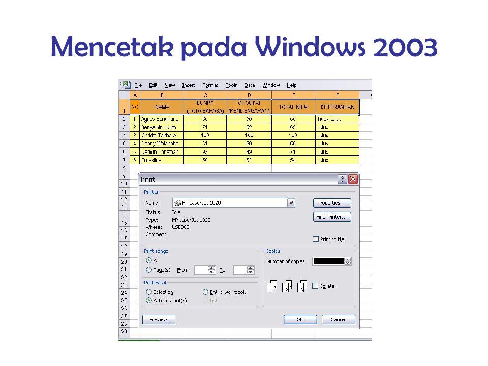 Mencetak pada Windows 2003