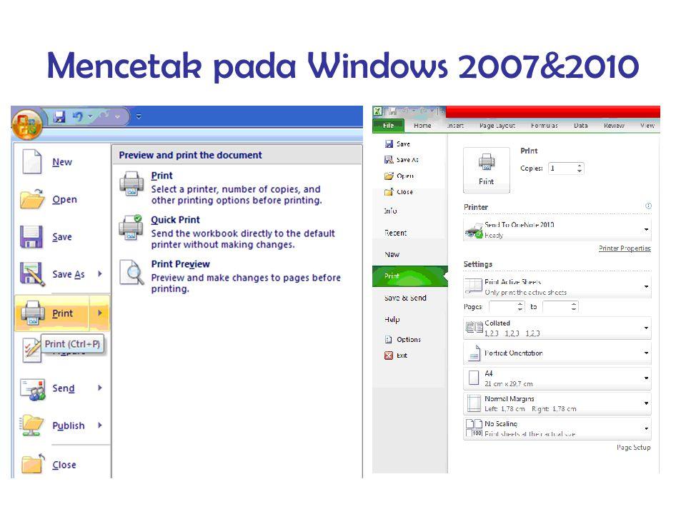 Mencetak pada Windows 2007&2010
