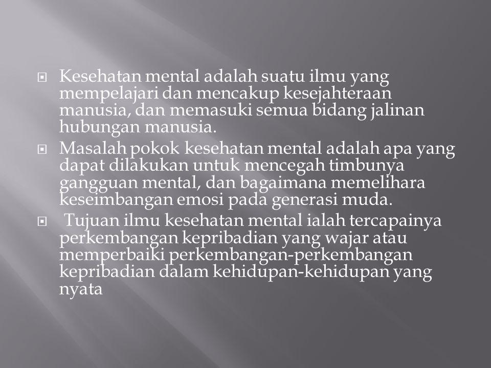 Kesehatan mental adalah suatu ilmu yang mempelajari dan mencakup kesejahteraan manusia, dan memasuki semua bidang jalinan hubungan manusia.
