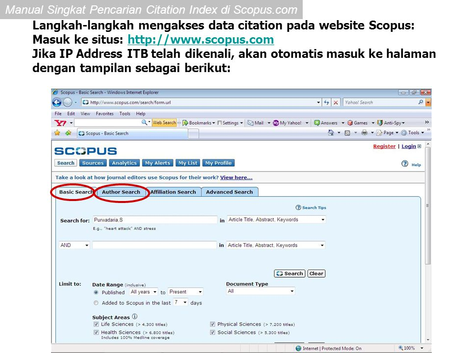 Langkah-langkah mengakses data citation pada website Scopus: