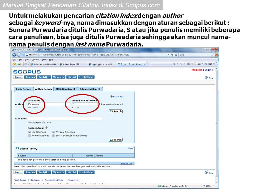 Untuk melakukan pencarian citation index dengan author