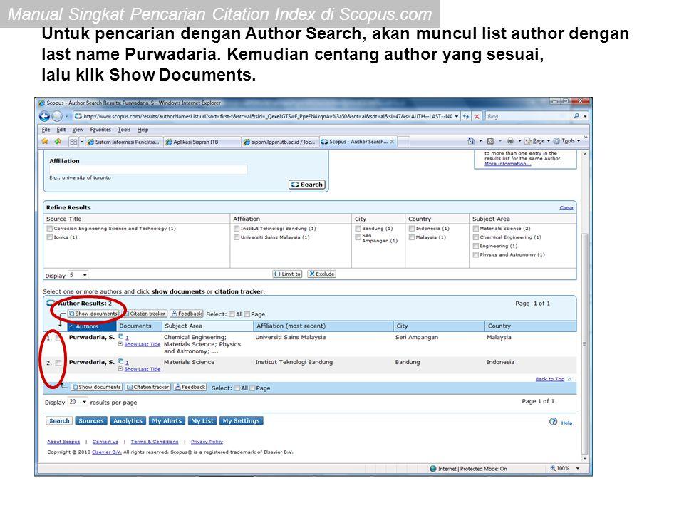 Untuk pencarian dengan Author Search, akan muncul list author dengan