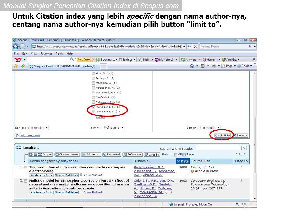Untuk Citation index yang lebih specific dengan nama author-nya,