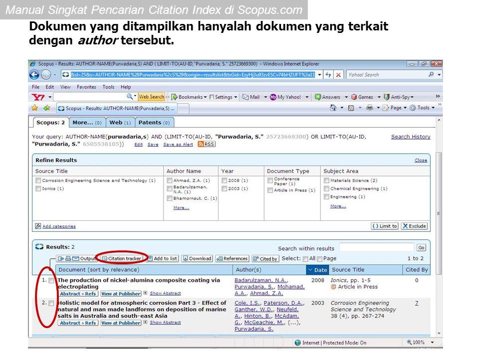 Dokumen yang ditampilkan hanyalah dokumen yang terkait dengan author tersebut.