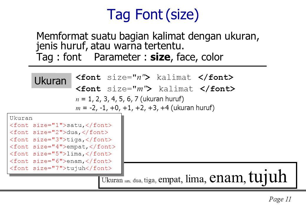 Tag Font (size) Memformat suatu bagian kalimat dengan ukuran, jenis huruf, atau warna tertentu. Tag : font Parameter : size, face, color.