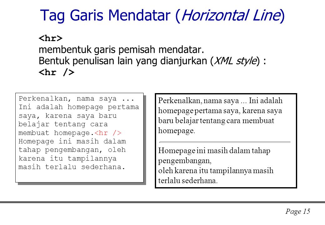 Tag Garis Mendatar (Horizontal Line)