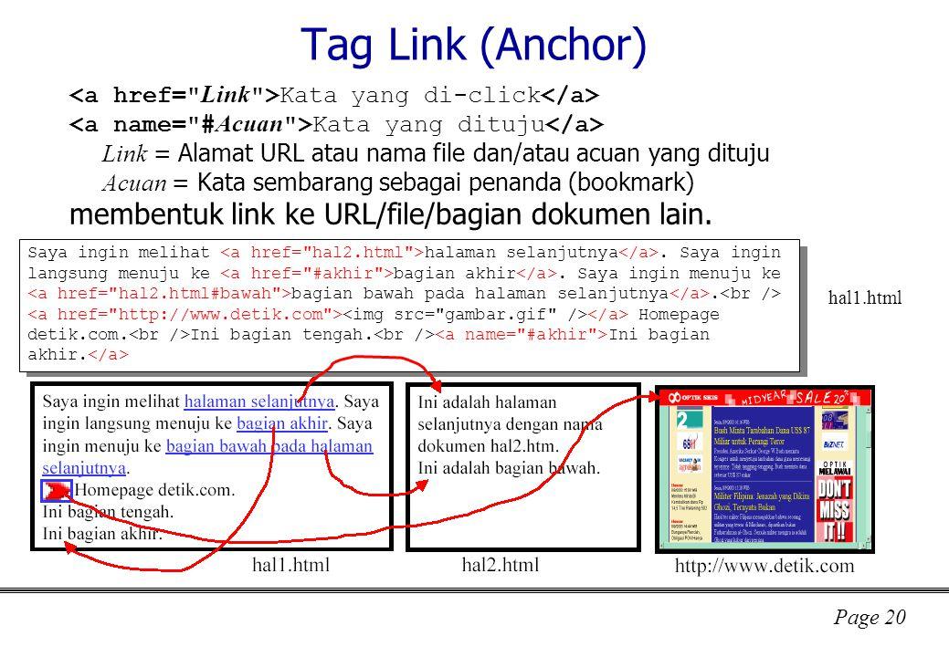 Tag Link (Anchor) membentuk link ke URL/file/bagian dokumen lain.