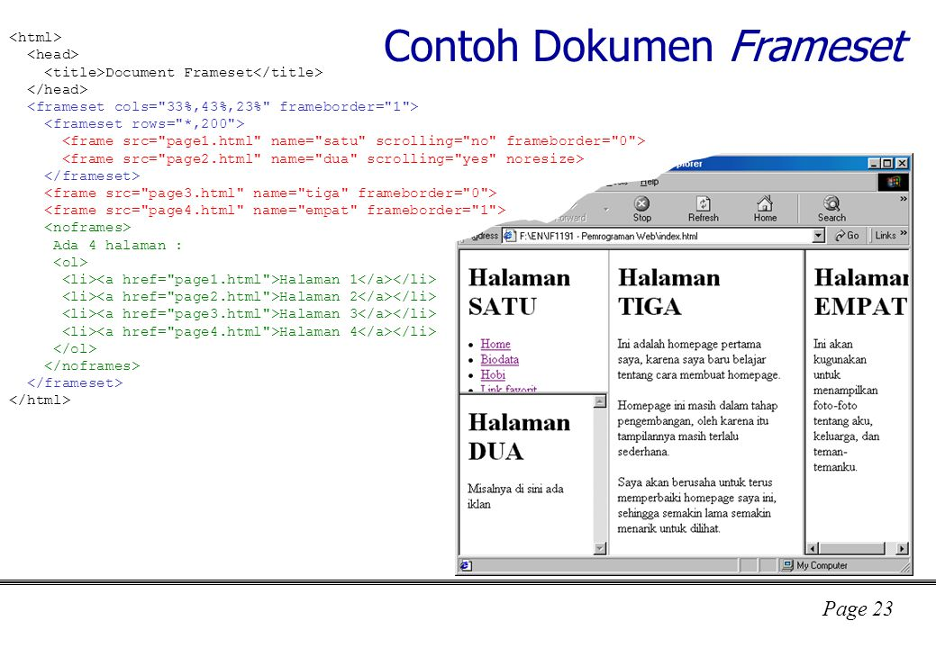 Contoh Dokumen Frameset