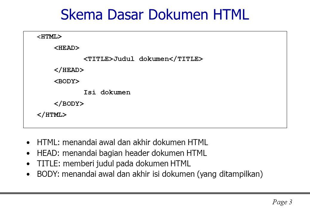 Skema Dasar Dokumen HTML