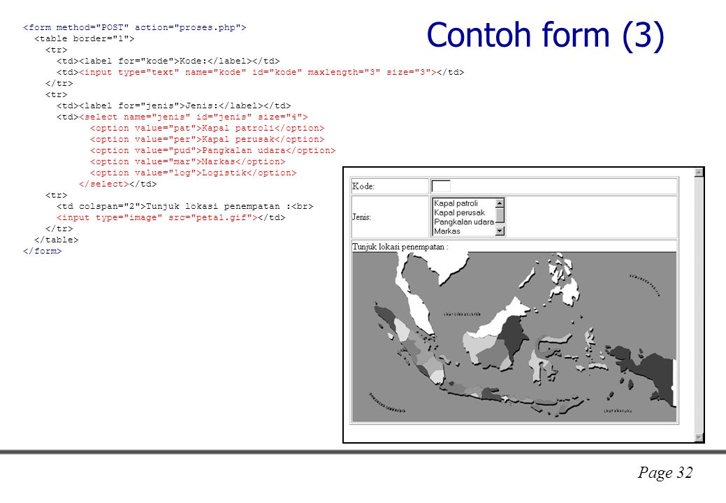 Contoh form (3) <form method= POST action= proses.php >