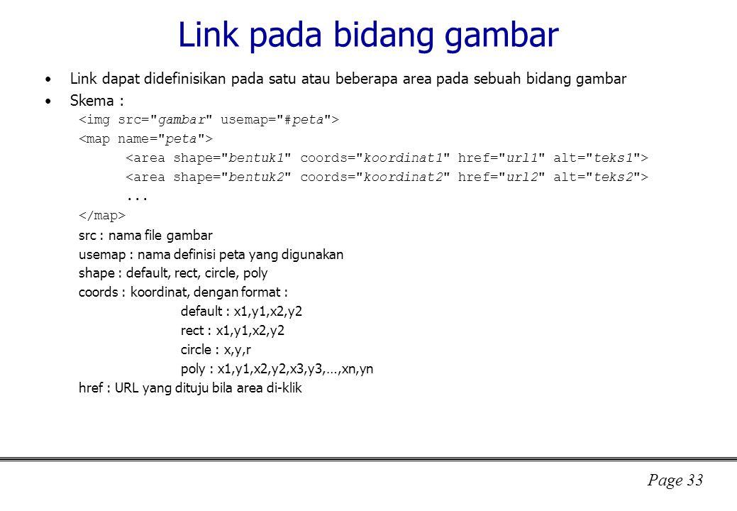 Link pada bidang gambar