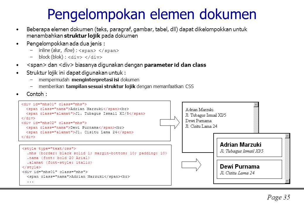 Pengelompokan elemen dokumen