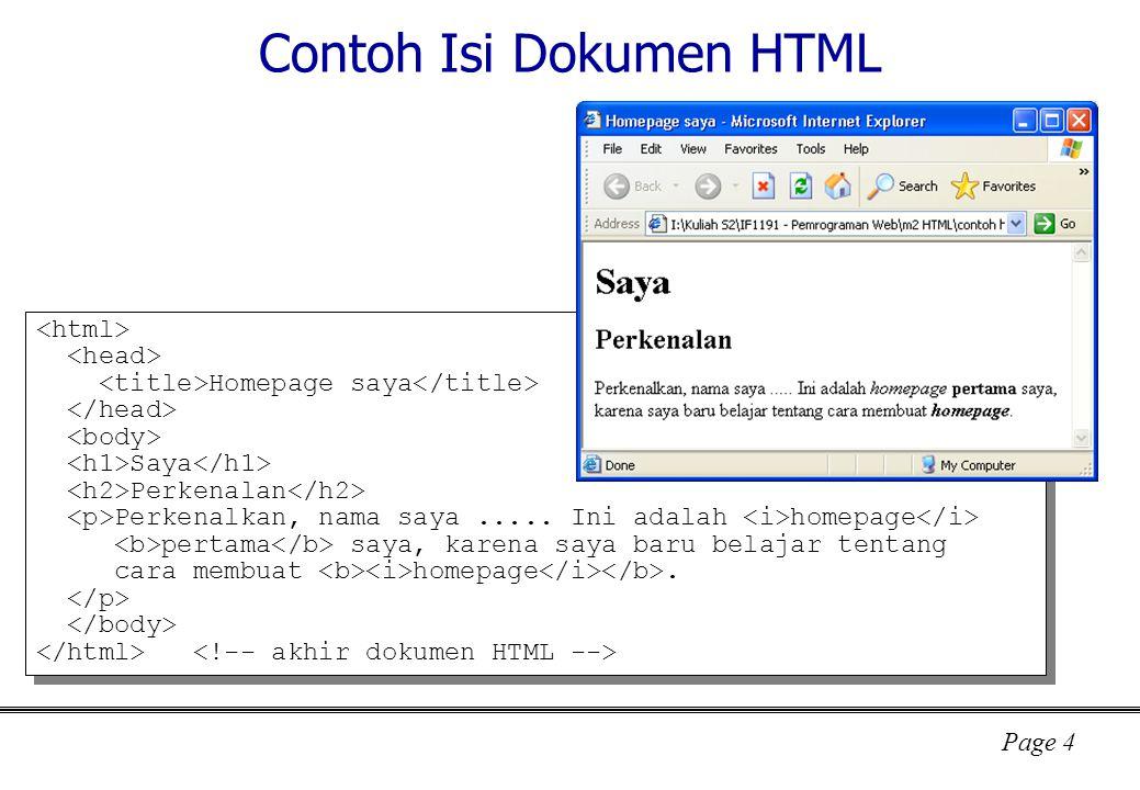 Contoh Isi Dokumen HTML