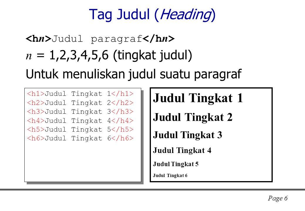 Tag Judul (Heading) Judul Tingkat 1 n = 1,2,3,4,5,6 (tingkat judul)