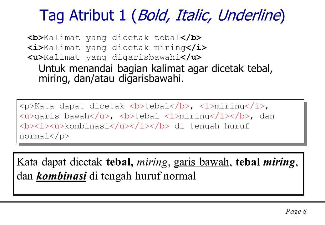 Tag Atribut 1 (Bold, Italic, Underline)