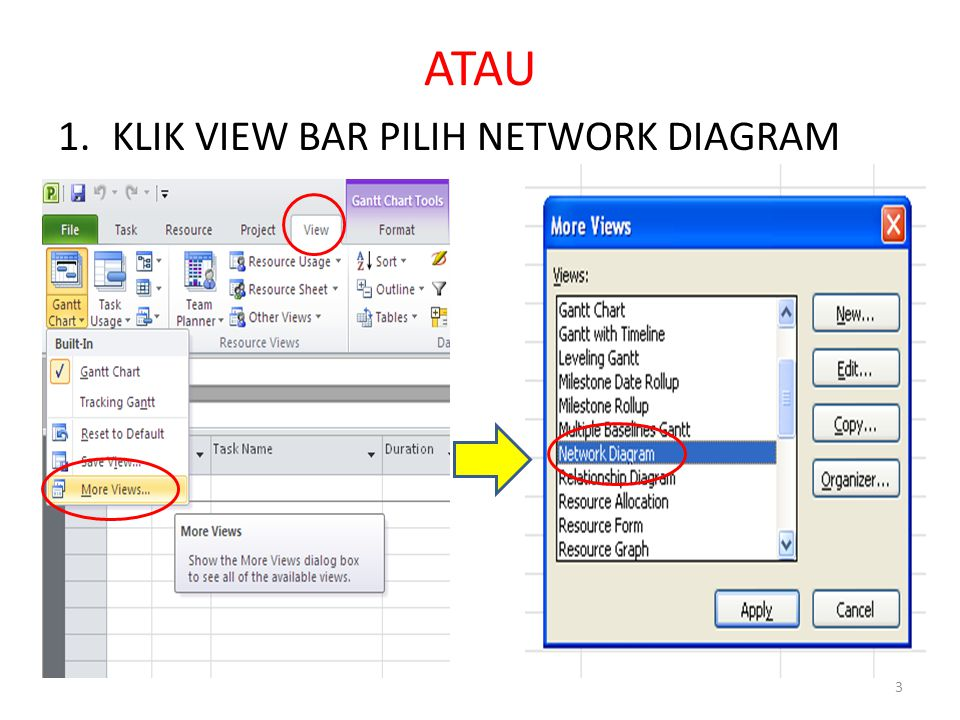 ATAU KLIK VIEW BAR PILIH NETWORK DIAGRAM