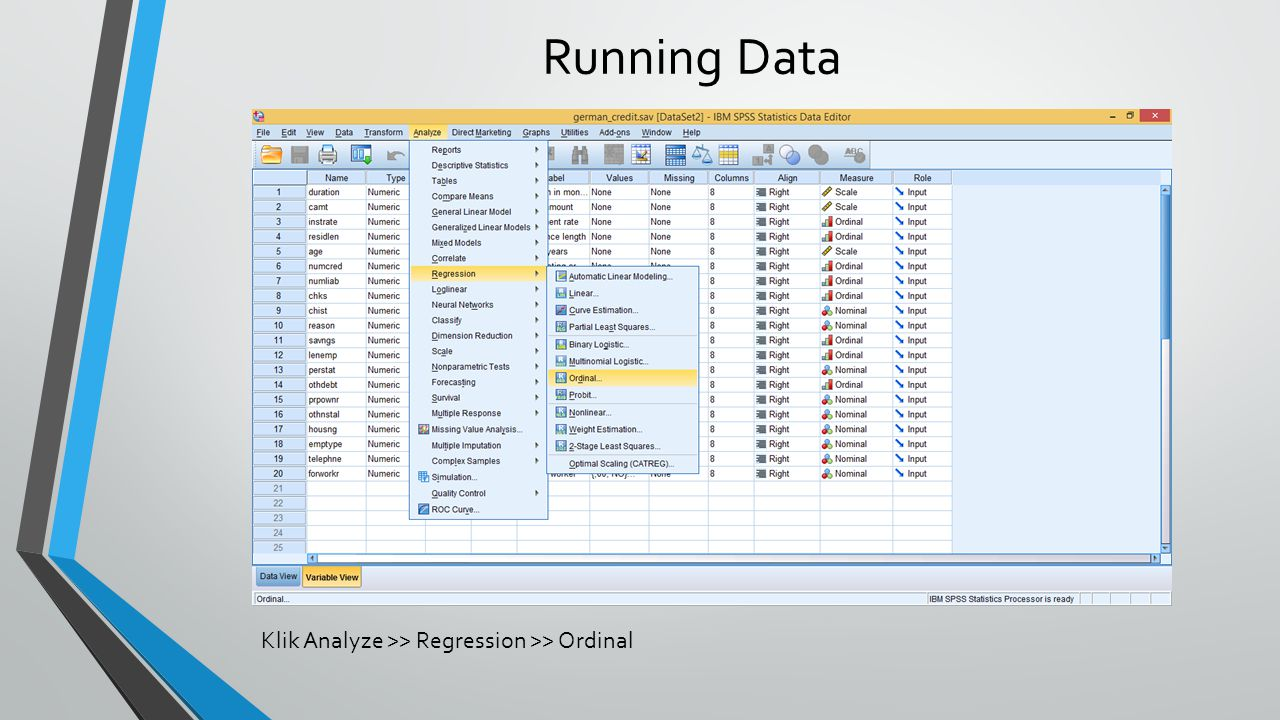Running Data Klik Analyze >> Regression >> Ordinal