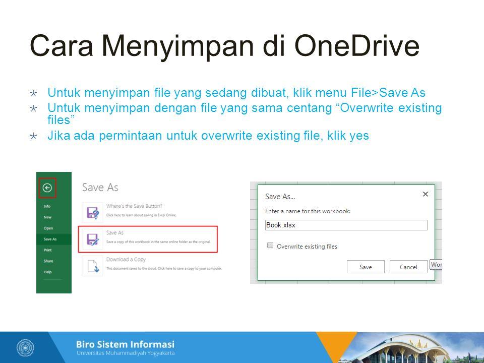 Cara Menyimpan di OneDrive