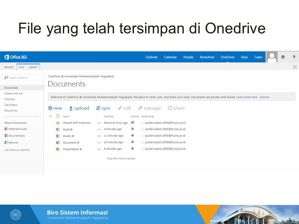 File yang telah tersimpan di Onedrive